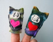 SALE - Cute finger puppets - cats with hearts