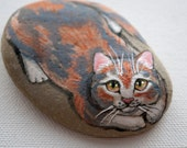 Calico cat, hand painted rock paper weight, pet portrait
