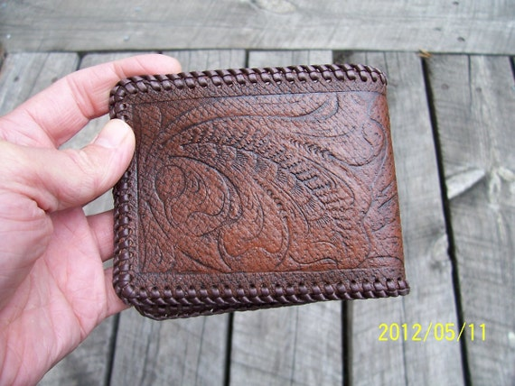 Embossed Sheridan Floral Design Handmade Leather Wallet Hand Laced and Stained Brown