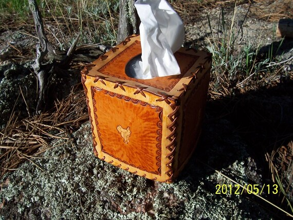 Hand Tooled Leather Kleenex Tissue Box Cover Cowboy Western Theme Cowboy Boots Hat Saddle Spurs Tan Color