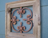 Rustic Wall Decor, Rustic Framed Steel Rosette For Inside Decor or Outside, Steel Wall Decor