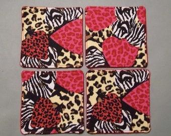 Valentine Decor Fabric Coasters, Animal and Heart Print