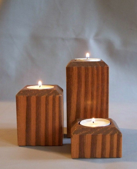 Wood Tea Light Candle Holders By Misckdesigns On Etsy