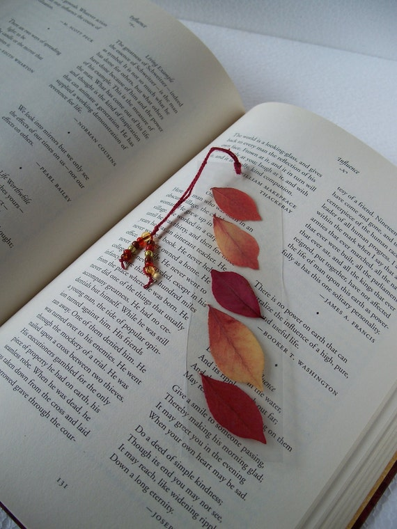 Book Mark with Burning Bush Leaves, Red and Yellow Autumn Book Mark