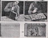 Book Binding Making Printing  French 1920's Original Antique Engraving