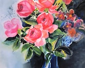 Vintage 1950s Watercolor Painting of Floral Still Life in Vase in Pinks, Greens, and Blues