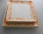 "Set of 2 Hand Painted Ceramic Square Plates 8"" salad & 10"" dinner"