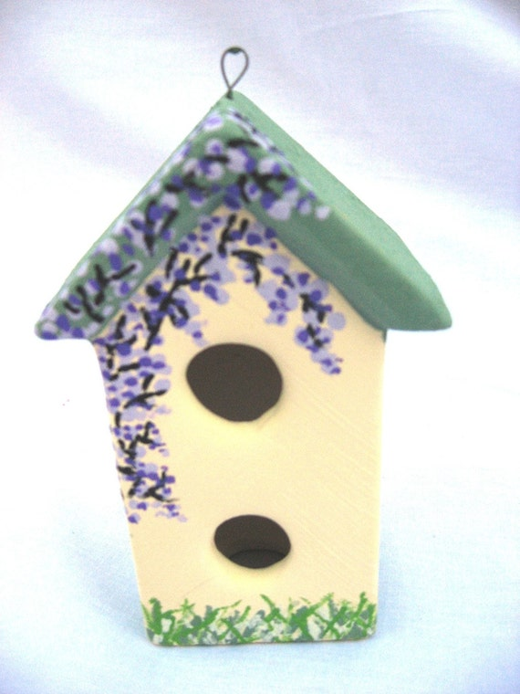 Hand Painted Ceramic Enchanted Fairy House Covered In Wisteria