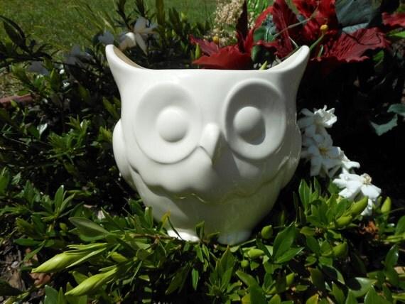 Ceramic Owl Planter (White)