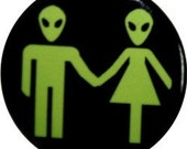 """Happy Alien couple on a 1"""" round button or magnet from Nasty Buttons"""