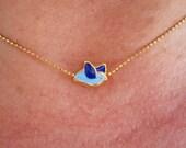 FREE BLUE BIRD Golden Frammed Necklace, Summer, Wedding, Gift