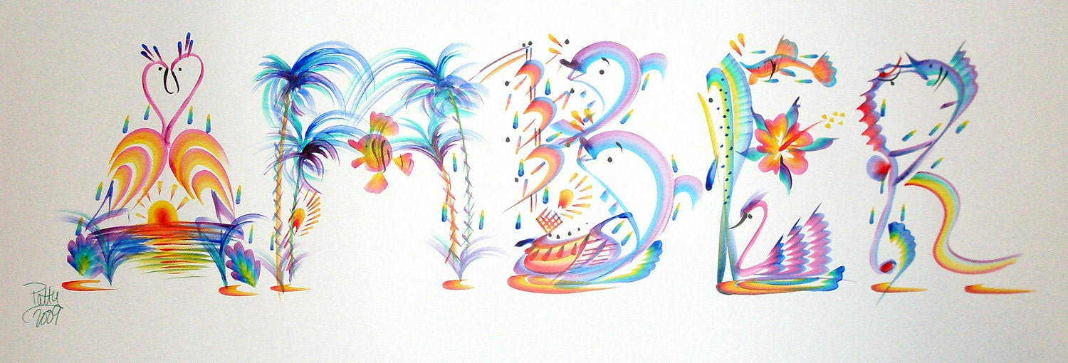 Tropical Name Art Painting Hand painted Amber Or