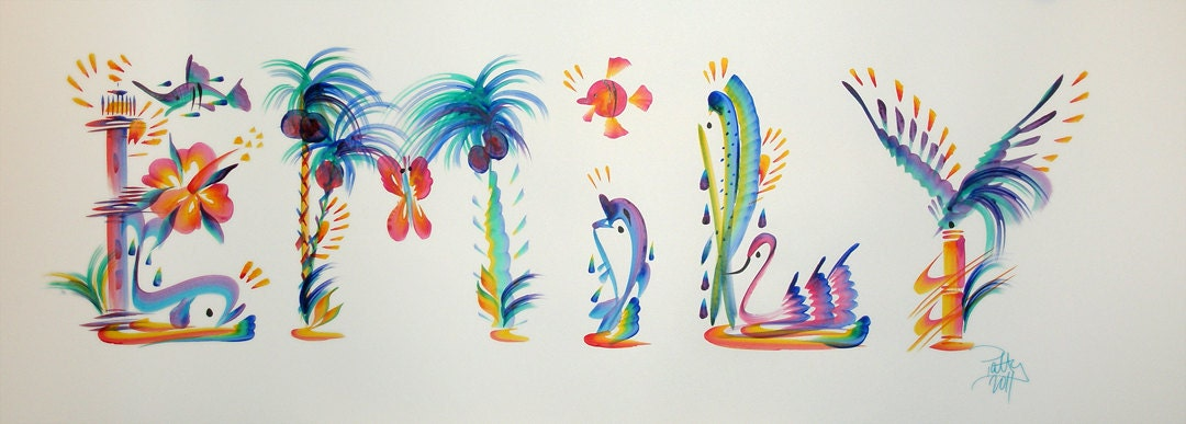 Tropical Name Art Painting Hand Painted Emily Or