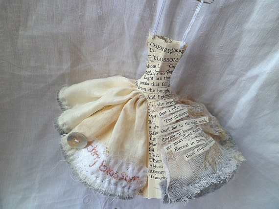Cherry Blossom - Art Dress Assemblage Made From Paper and Fabric