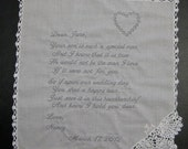 Mother of the Groom Handkerchief from Bride with Heart Design, Wedding date White with Crochet Border