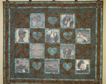 Custom Photo Memory Quilt with 10 Pictures