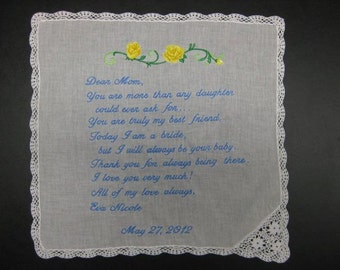Mother of the Bride Handkerchief from Bride with Yellow Rose design, Wedding date White with Chrochet Border