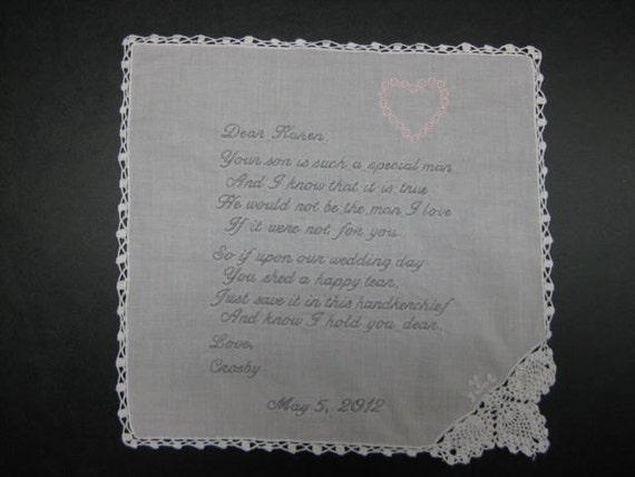 Mother of the Groom Handkerchief from Bride with Heart Design, Wedding date White with Chrochet Border