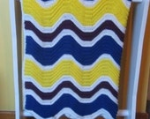 Navy, Yellow, Purple and White Ripple Afghan  Ready to Ship