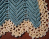 Sage Green with Cream Lace Border Victorian Ripple Afghan - this and other colors can be made to order