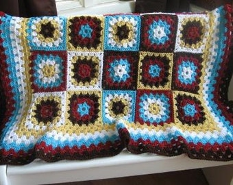 Multi Color Granny Square Afghan  Ready to Ship