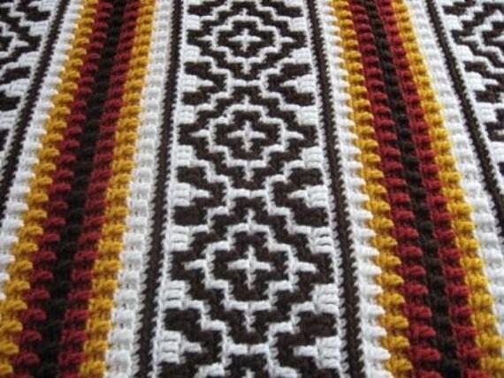 Crochet Pattern Southwestern Afghan : Southwestern Style Crochet Afghan Blanket Ready by ...
