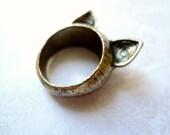 Antique Golden Pussy Cat Ring