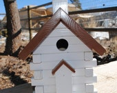Small Brown and White Church Birdhouse - Ready to Ship