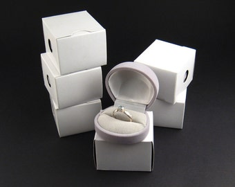 Grey flocked velvet Ring Box, pack of 6