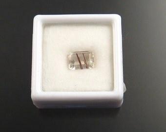 Rutilated Quartz rectangle faceted gemstone