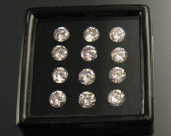 Pink CZ faceted stones, 5mm, parcel of 12 stones