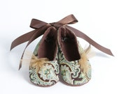 THE DUCHESS-Brown, Green, Satin Ballet Flat, Ankle Ribbon Tie Baby Girl Bootie - PitterPatterShop
