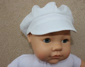 2 Piece White News Boy Hat or Newsie Hat and Matching Baby Booties