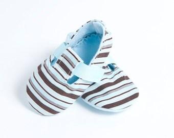LITTLE BOY BLUE-Striped, Brown Baby Bootie