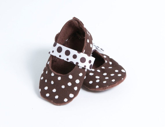 OREO-Brown and White Polka Dot Mary Jane Baby Girl Booties