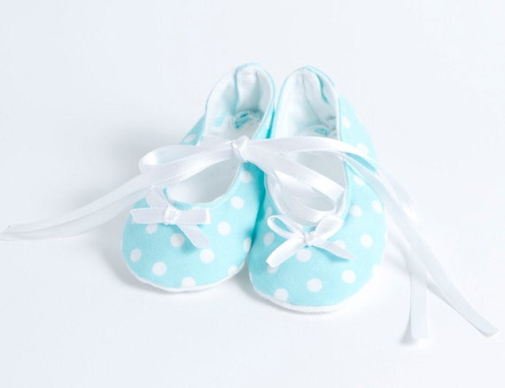 BLUE BELLE-Teal, Aqua and White Polka Dot Ballet Style Baby Girl Booties