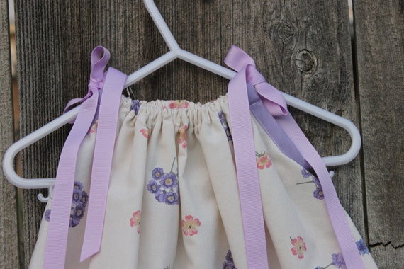 Pillowcase Dress Purple, Pink, and Cream Floral Baby Tunic Dress 0, 3 months size