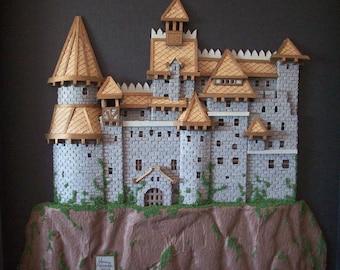 3-D Draculas Castle Hand Cut Paper Cutting in Shadow Box Frame 12X12