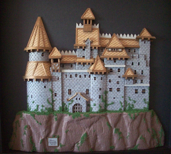 3 D Draculas Castle Hand Cut Paper Cutting In By