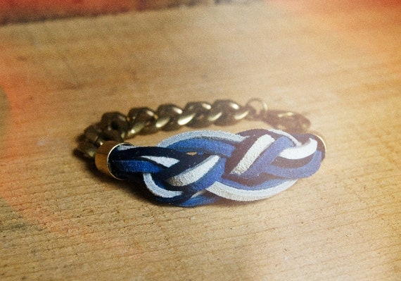 Sailor's Knot Bracelet - Blue and white suede on a raw gold chain