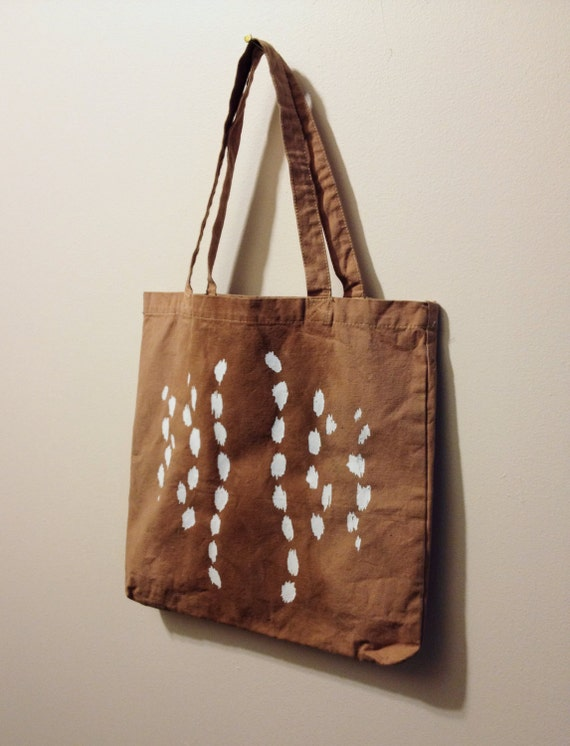 Deer Tote Bag - Hand-dyed and painted tote with screen printed deer spots