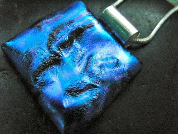 Blue Dichroic Glass Naked Pillow Necklace Boxing Day Sale