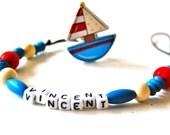 Personalized Beaded Pacifier Clip or Toy Leash- Sail Boat