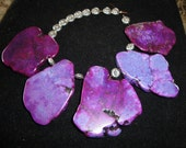 5 large top drilled dyed purple turquoise slabs  with tibetan silver findings