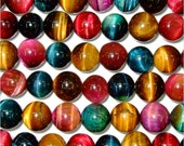 4mm 6mm 8mm 10mm 12mm Round Tiger Eye Beads Multicolor Semiprecious Gemstone Bead - 15''L Jewelry Supply Wholesale Beads