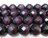 Cat Eye Beads 12mm Round Cut Dark Amethyst Color Semiprecious Gemstone Bead String Wholesale Beads
