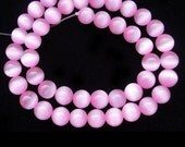Cat Eye Beads 6mm Round Pink Semiprecious Gemstone 15''L Jewelry Supply Wholesale Beads