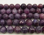 "4mm/6mm/8mm/10mm/12mm Lepidolite Genuine Natural Round Loose Beads Bracelet Jewelry Making Semiprecious Gemstone 15""L Bead -"