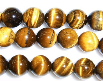 8mm Round Tiger Eye Beads Natural Semiprecious Gemstone Bead String Beading 15''L Jewelry Supply Wholesale Beads