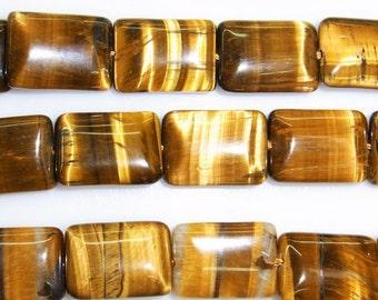 10X14mm Rectangle Tiger Eye Beads Natural Semiprecious Gemstone Bead - 15''L Jewelry Supply Wholesale Beads